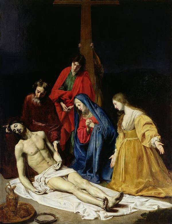 Religion Print featuring the painting The Descent From The Cross by Nicolas Tournier