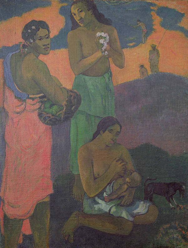 Maternity Print featuring the painting Three Women On The Seashore by Paul Gauguin