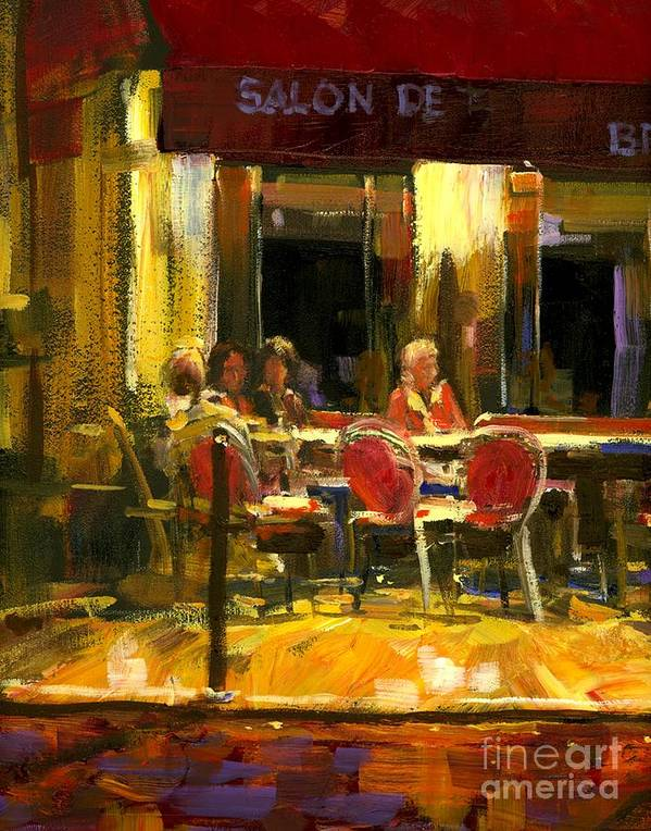 French Cafe Print featuring the painting A French Cafe And Friends by Michael Swanson