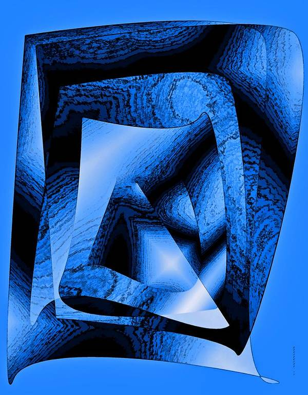 Design Print featuring the digital art Abstract Design In Blue Contrast by Mario Perez