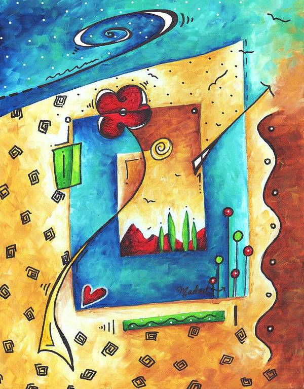 Abstract Print featuring the painting Abstract Pop Art Landscape Floral Original Painting Joyful World By Madart by Megan Duncanson