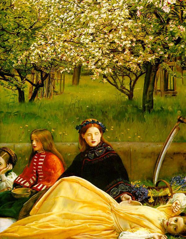 Apple Blossoms Print featuring the digital art Apple Blossoms by John Everette Millais