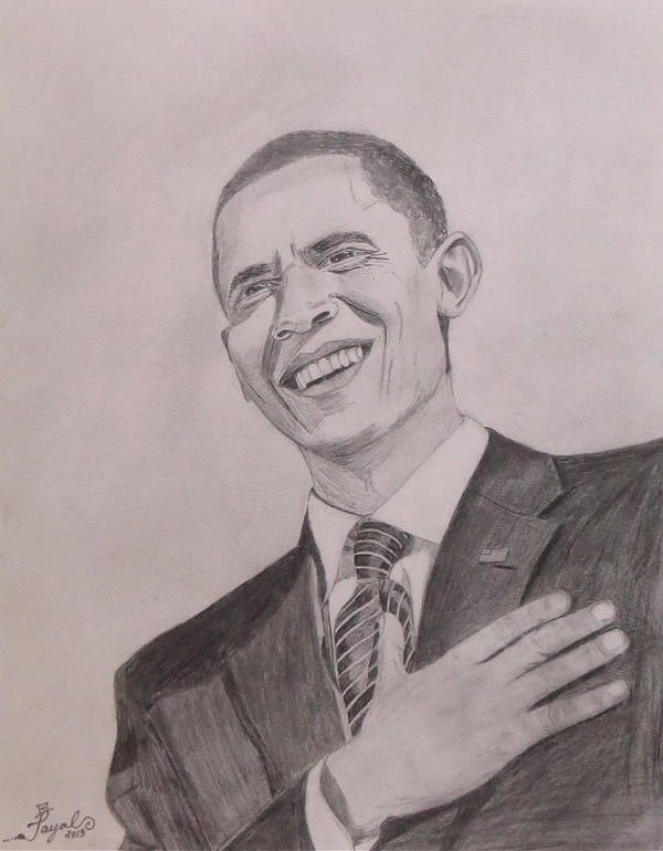 Obama Print featuring the drawing Barack Obama by Artistic Indian Nurse