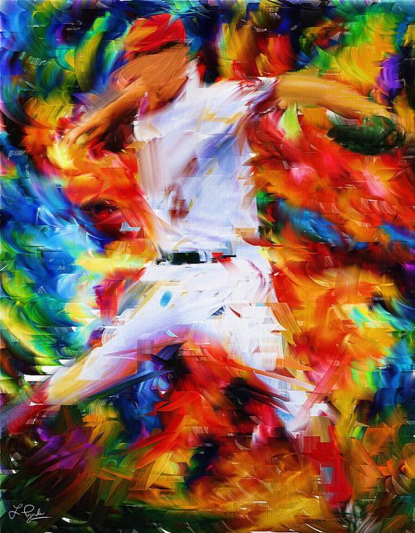 Baseball Print featuring the digital art Baseball I by Lourry Legarde