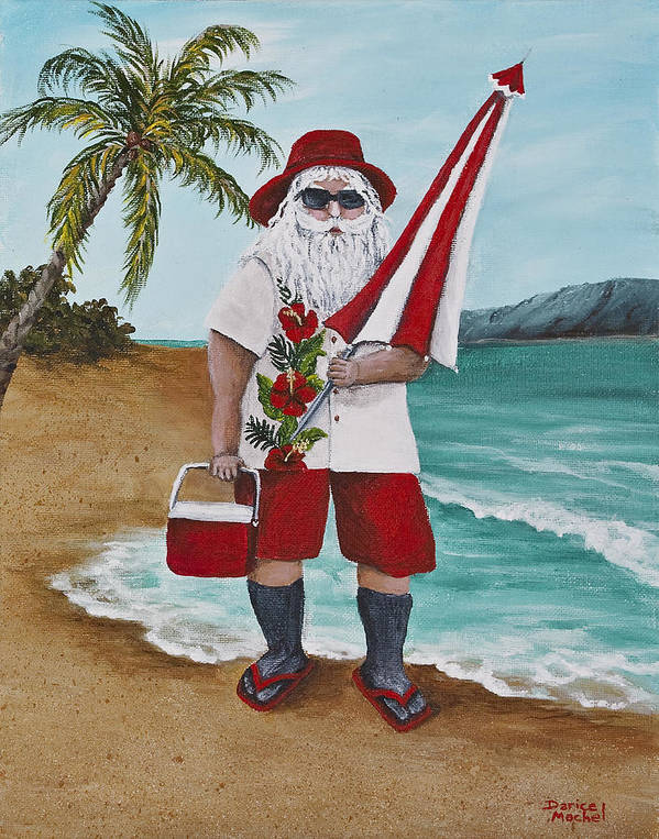 Christmas Print featuring the painting Beachen Santa by Darice Machel McGuire