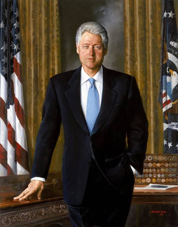 Bill Clinton Print featuring the painting Bill Clinton Portrait by Tilen Hrovatic