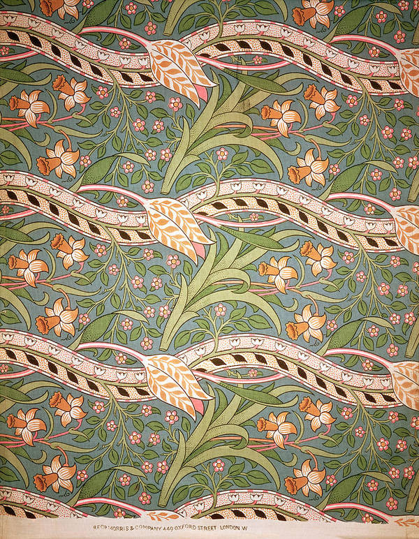 Arts And Crafts Movement Print featuring the tapestry - textile Daffodil Chintz by John Henry Dearle
