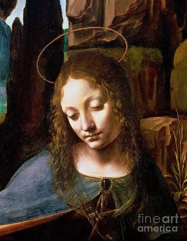 Detail Of The Head Of The Virgin Print featuring the painting Detail Of The Head Of The Virgin by Leonardo Da Vinci