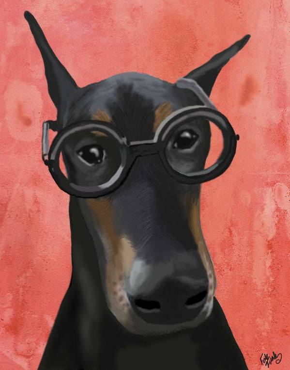 Doberman Framed Prints Print featuring the digital art Doberman With Glasses by Loopylolly