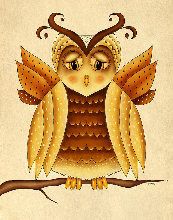 Owl Print featuring the painting Dottie by Brenda Bryant