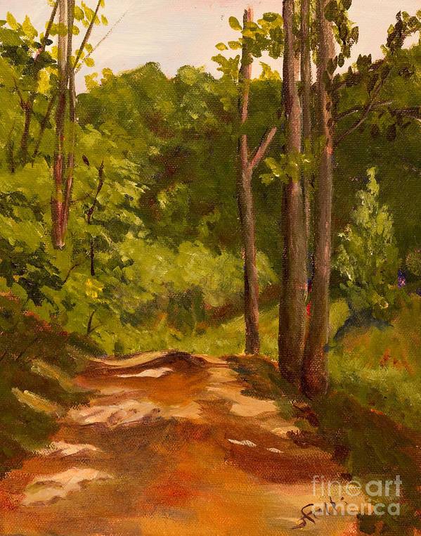 Dirt Print featuring the painting Down The Road by Janet Felts