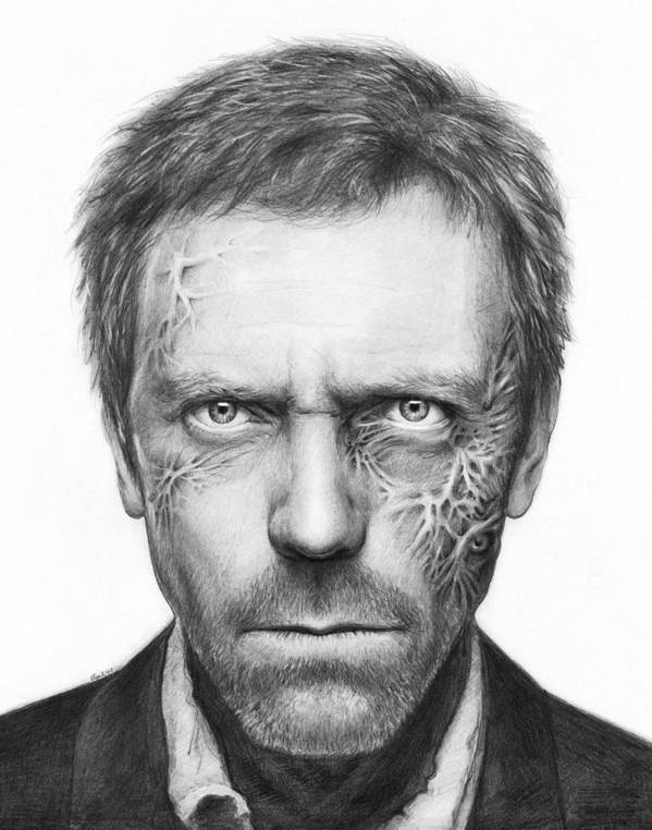 House Md Print featuring the drawing Dr. Gregory House - House Md by Olga Shvartsur