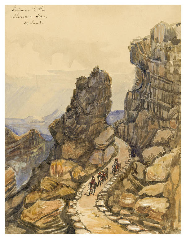 Almanna Gorge Print featuring the painting Entrance To The Almanna Gau Circa 1862 by Aged Pixel