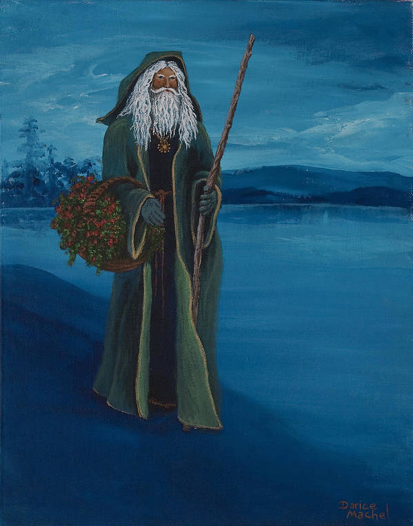 Christmas Print featuring the painting Father Christmas by Darice Machel McGuire