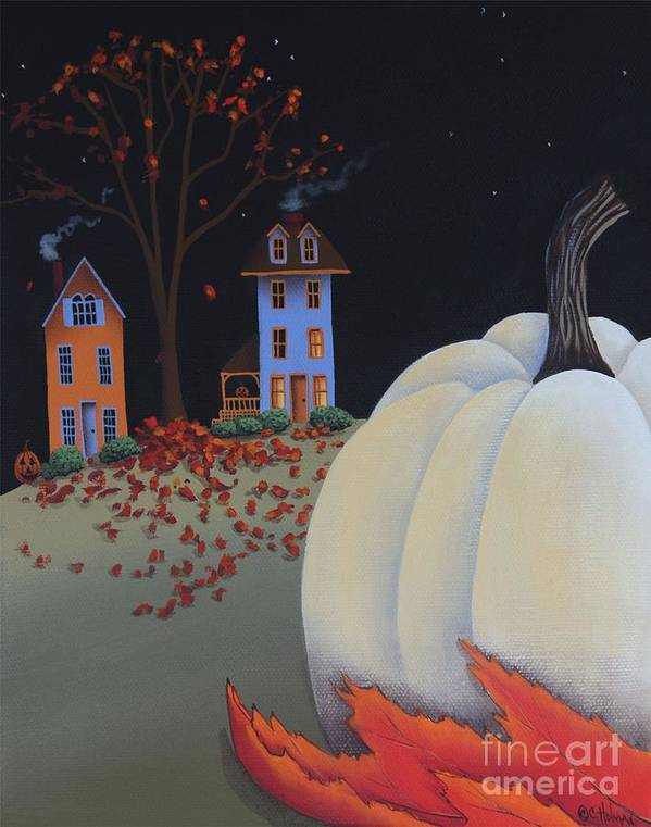 Art Print featuring the painting Halloween On Pumpkin Hill by Catherine Holman