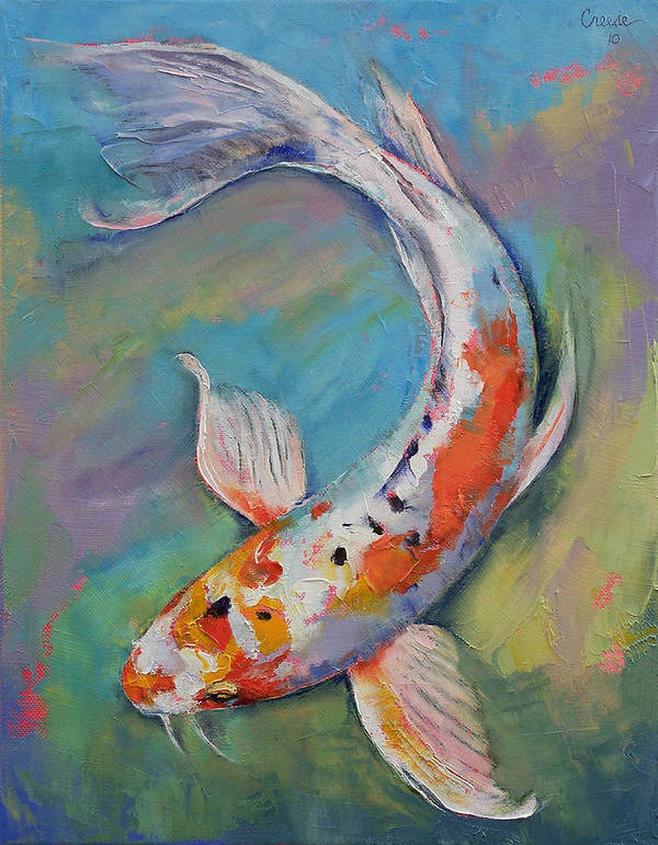 Asian Print featuring the painting Heisei Nishiki Koi by Michael Creese