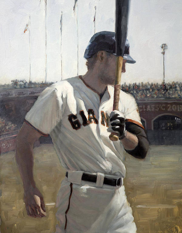 Hunter Pence Print featuring the painting Hunter Pence On Deck by Darren Kerr