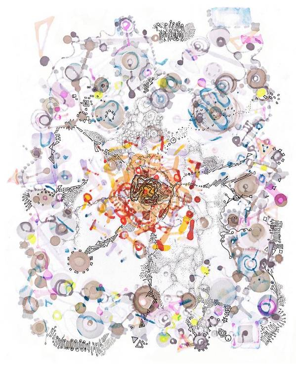 Cell Print featuring the drawing Intracellular Diversion by Regina Valluzzi