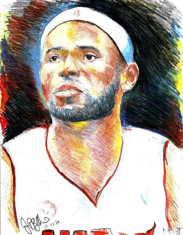 James Print featuring the drawing Lebron James by Jon Baldwin Art