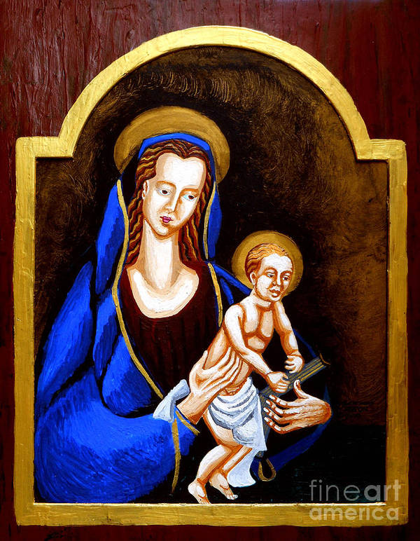 Madonna And Child Print featuring the painting Madonna And Child by Genevieve Esson