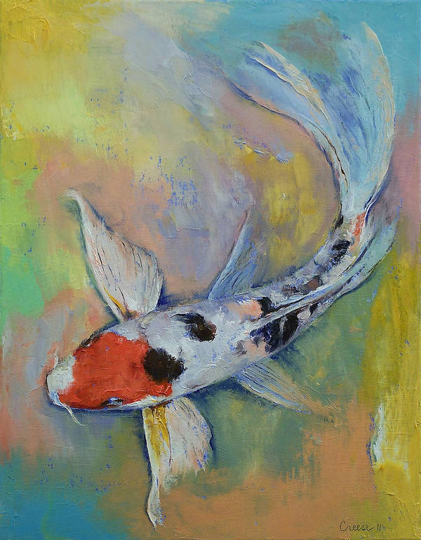 Maruten Print featuring the painting Maruten Butterfly Koi by Michael Creese