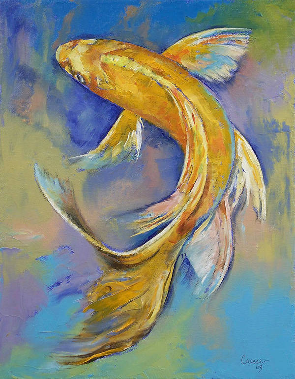 Orenji Print featuring the painting Orenji Butterfly Koi by Michael Creese