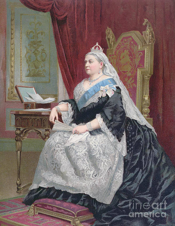 Female Print featuring the painting Portrait Of Queen Victoria by English School