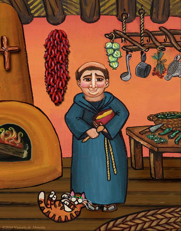 Folk Art Print featuring the painting San Pascual And Vigas by Victoria De Almeida
