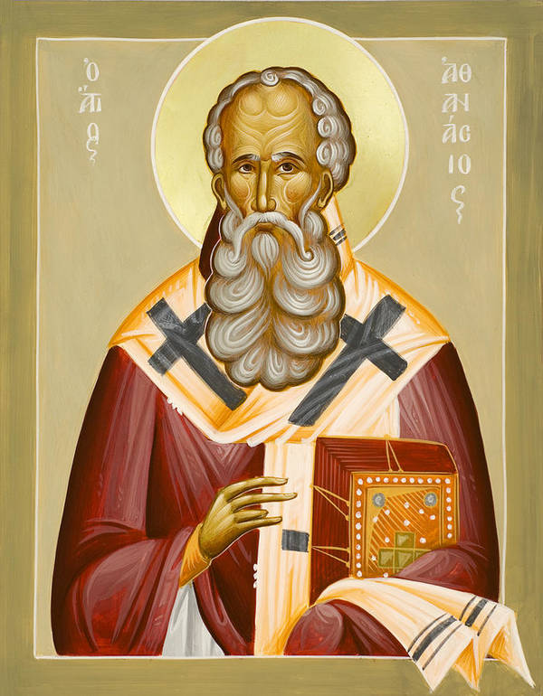 St Athanasios The Great Print featuring the painting St Athanasios The Great by Julia Bridget Hayes