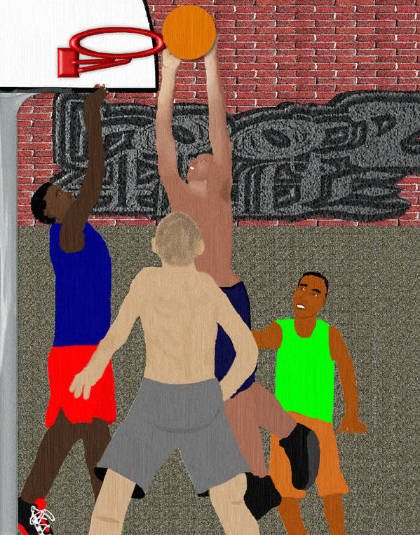 Basketball Print featuring the mixed media Streetball Shirts And Skins Hoopz 4 Life by Pharris Art