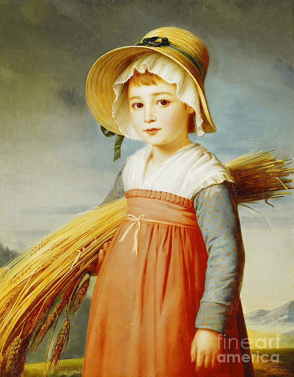 Girl Print featuring the painting The Little Gleaner by Christophe Thomas Degeorge