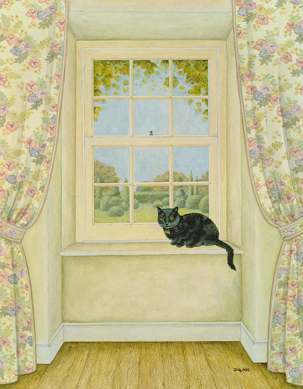 Nets Print featuring the painting The Window Cat by Ditz