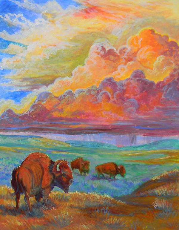 Plains Print featuring the painting Thunderheads by Jenn Cunningham
