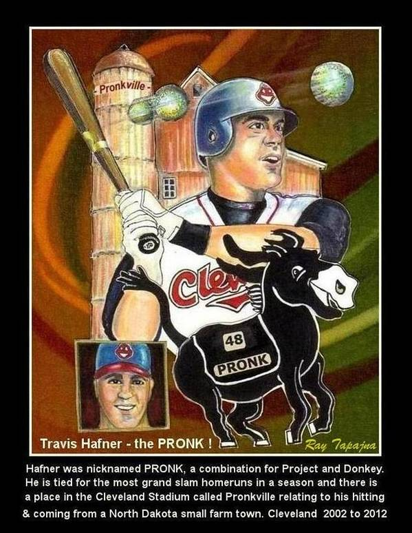 Baseball Player. Rare Collectible Print featuring the mixed media Travis Hafner The Pronk by Ray Tapajna