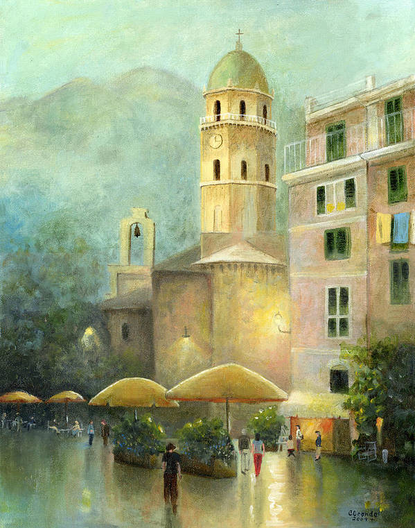 Cecilia Brendel's Original Canvas Print Painting Vernazza Print featuring the painting Vernazza Italy by Cecilia Brendel