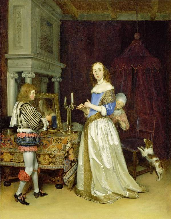 Lady Print featuring the painting A Lady At Her Toilet by Gerard ter Borch
