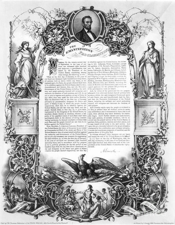 1860s Print featuring the photograph Emancipation Proclamation by Granger