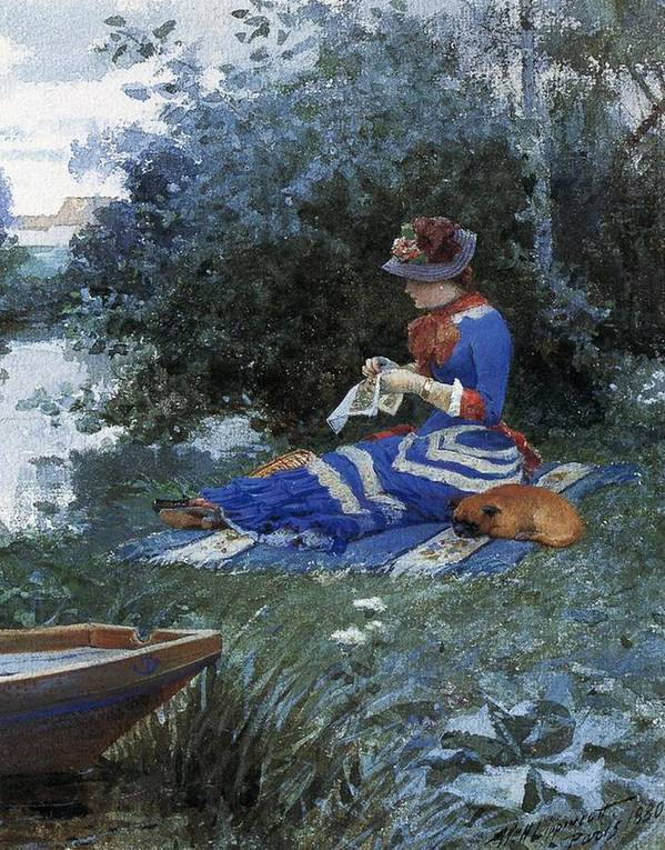 A Quiet Afternoon Print featuring the painting A Quiet Afternoon by William Henry Lippincott