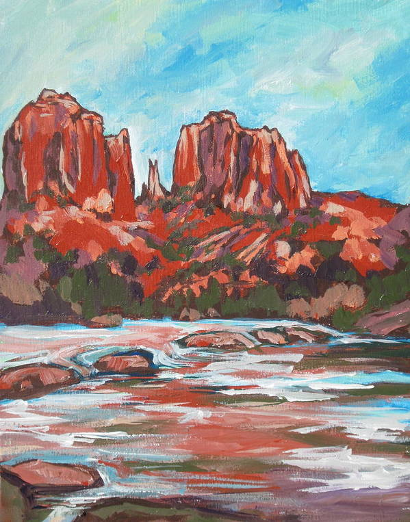 Sedona Print featuring the painting Cathedral Rock 2 by Sandy Tracey
