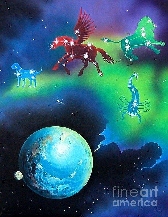 Fantasy Print featuring the painting Constellations by Kimberlee Ketterman Edgar