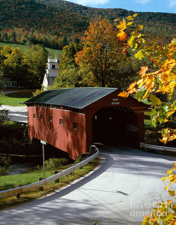 Arlington Print featuring the photograph Covered Bridge In Vermont by Rafael Macia and Photo Researchers