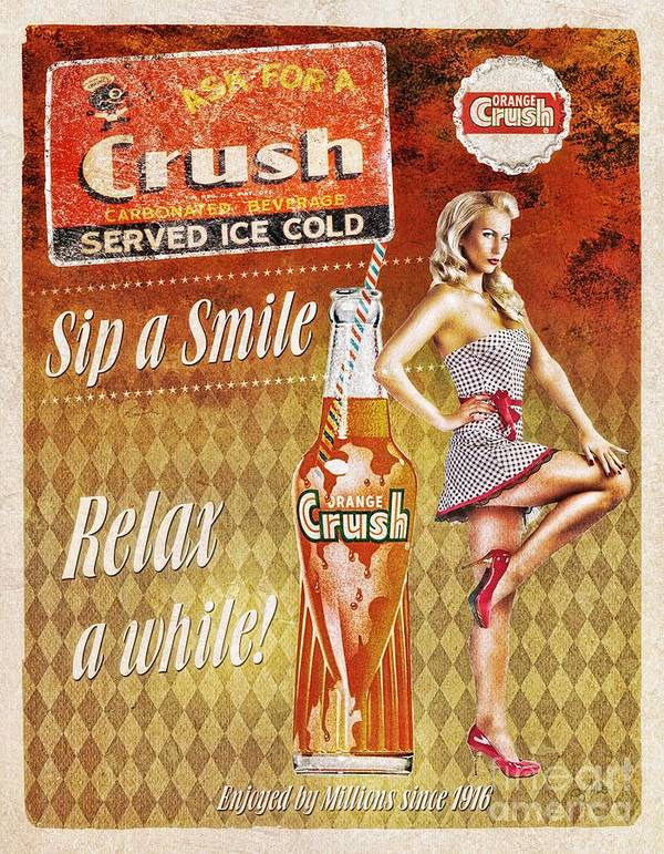 Crush Print featuring the mixed media Crush by Mo T