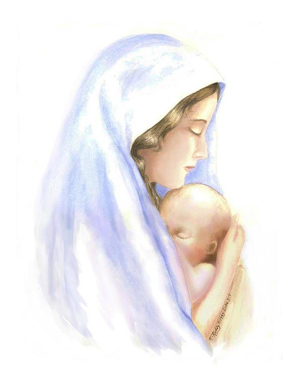 Watercolor Impressionist Portrait Of Mary And Child. Print featuring the painting First Born by Roberta Roddy