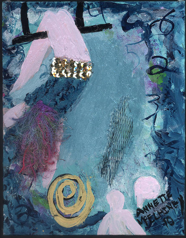 Women Print featuring the painting Flying Without A Net by Annette McElhiney
