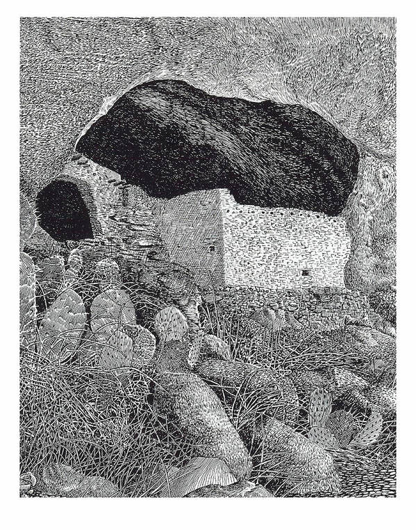 Framed Prints And Note Cards Of Ink Drawings Of Scenic Southern New Mexico. Framed Canvas Prints Of Pen And Ink Images Of Southern New Mexico. Black And White Art Of Southern New Mexico Print featuring the painting Gila Cliff Dwelings Big Room by Jack Pumphrey