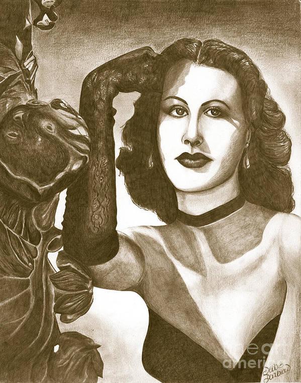 Heddy Lamar Print featuring the painting Heddy Lamar by Debbie DeWitt