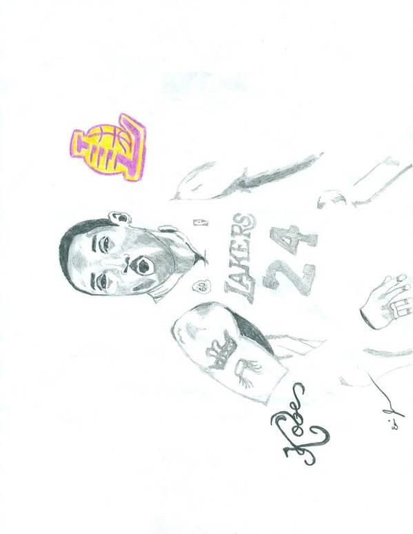 Kobe Print featuring the drawing Kobe by Eric Jones