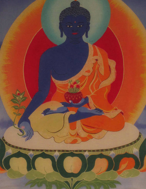 Buddha Print featuring the tapestry - textile Medicine Buddha by Elisabeth Van der Horst