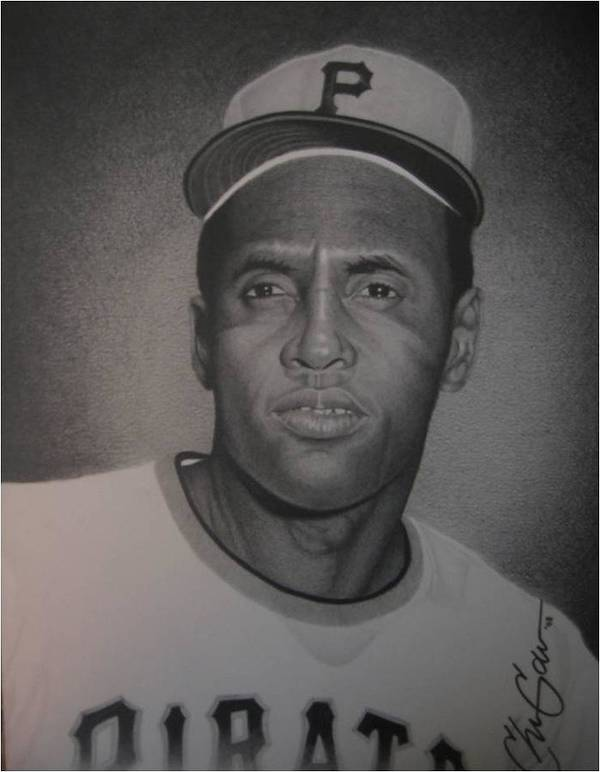 Portrait Print featuring the drawing Roberto Clemente by Christian Garcia