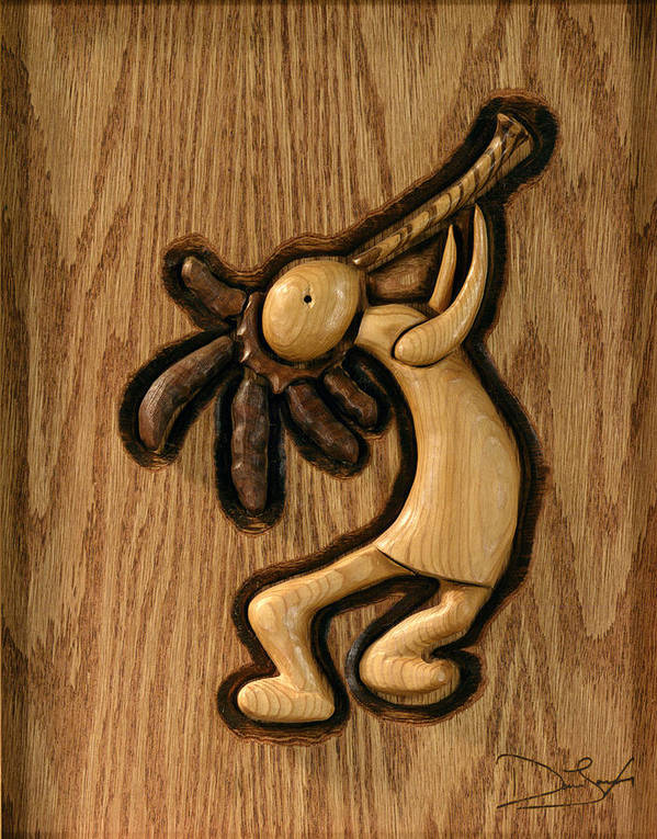 Kokopelli Print featuring the relief Spring Jam A by David Taylor